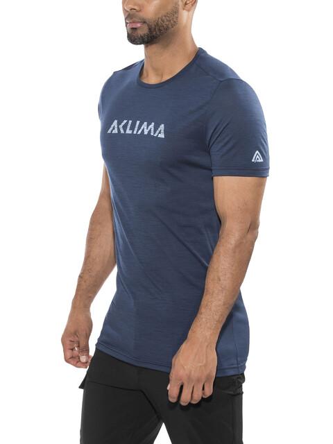 Aclima Lightwool Logo t-shirt Heren blauw